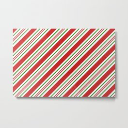 Red Green and White Candy Cane Stripes Thick and Thin Angled Lines Metal Print