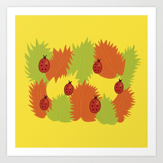 Autumn Leaves And Ladybugs Art Print