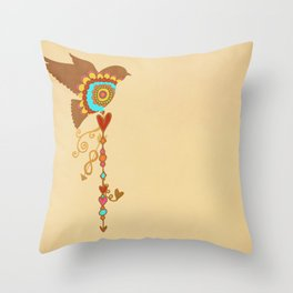 Rainbow Pride - bird with love charms on vintage cream- love is love - CELEBRATE! Throw Pillow