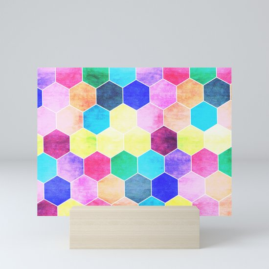 Honeycombs print, colorful hexagons by kinkdesign