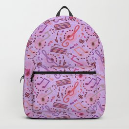 Musical Notes, Lavender Blue Music Notation Melody Pattern Illustration Backpack