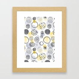 Watercolour Circles | Grey and Yellow Palette Framed Art Print