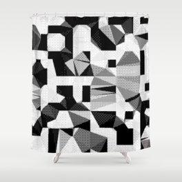 8bit B&W Abstract Shower Curtain