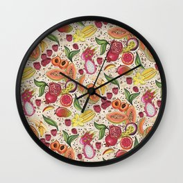Ready to Eat - Fruit Pattern in White Wall Clock