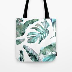 Tropical Palm Leaves Blue Green on White Tote Bag