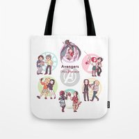 the office Tote Bags featuring office bromance by GraphiteDoll