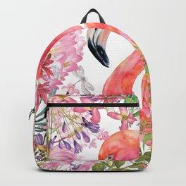 Flamingo in Tropical Flower Jungle Backpack