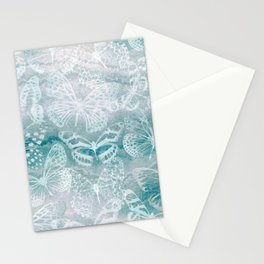 Sea green marble butterflies Stationery Cards
