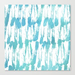 Turquoise and white watercolors messy strokes pattern Canvas Print