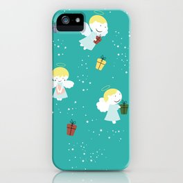 Christmas or birthday baby angels iPhone Case