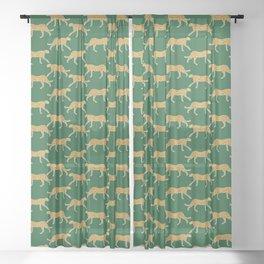 Tropical Animal Print Green Cheetah Illustration Sheer Curtain