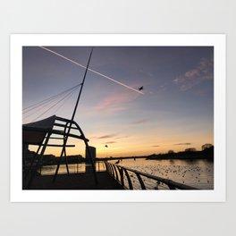Limerick city at sunset Art Print
