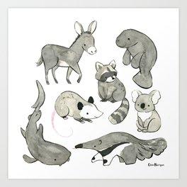 Gray Animals Art Print