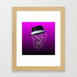 Elegant Skull with hat,hot pink Framed Art Print