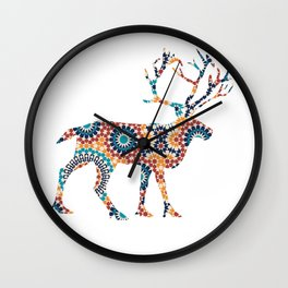 DEER SILHOUETTE WITH PATTERN Wall Clock