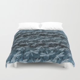 Rainy Day Dragonflies Duvet Cover