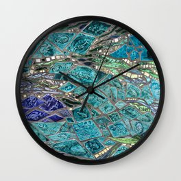 Vibrant Shiny Aquatic Texture Wall Clock