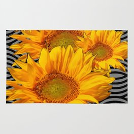 GOLDEN YELLOW SUNFLOWERS ABSTRACT Rug