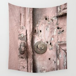 Pink Rusty Door Wall Tapestry
