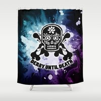 roller derby Shower Curtains featuring Roller Derby Por Vida by Mean Streak