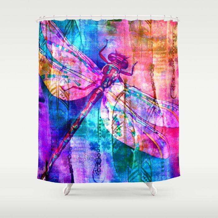 Dragonfly Rainbow Shower Curtain