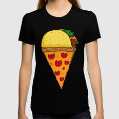 Taco Pizza Cone Womens Fitted Tee LARGE Black