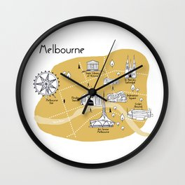 Mapping Melbourne - Yellow Wall Clock