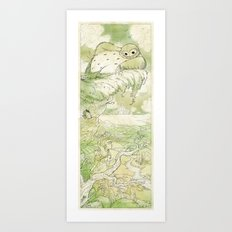 Exploring with Magpie - Green Art Print