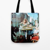 arsenal Tote Bags featuring Cafe Arsenal, Paris (Double Exposure) by istillshootfilm