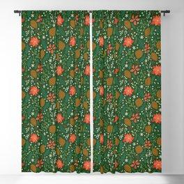 Winter Florals - Green Blackout Curtain