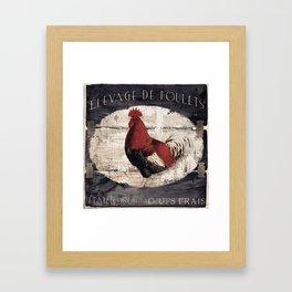 Vintage French Farm Sign Rooster Framed Art Print