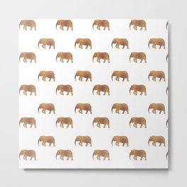 Golden elephants on a white background . illustration pattern . Metal Print