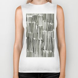 Simply Bamboo Brushstroke Green Tea on Lunar Gray Biker Tank