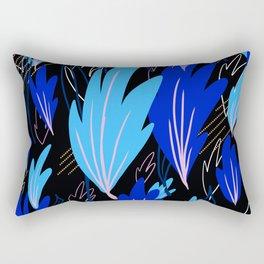 Blue Abstract Fern Rectangular Pillow