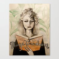 tenenbaum Canvas Prints featuring Margot Tenenbaum by Justine Lecouffe
