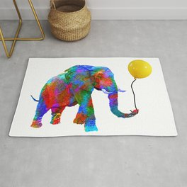 Crayon Colored Elephant with Yellow Balloon Rug