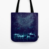 cosmic Tote Bags featuring Cosmic Safari by dan elijah g. fajardo