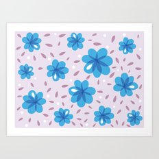 Gentle Blue Flowers Pattern Art Print