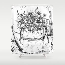 Flowering Watering Can Shower Curtain