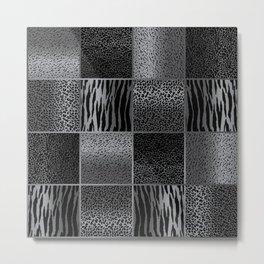 Light Gray and Black Exotic Animal Patterns Metal Print