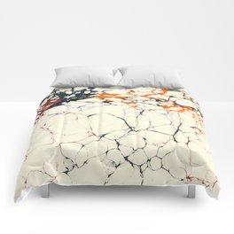 Marble Cream Blue / Orange Square # 1 Comforters