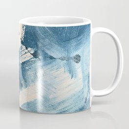 Against the Current: A bold, minimal abstract acrylic piece in blue, white and gold Coffee Mug