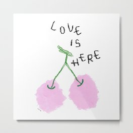 Love Is Here - Cherry Painting Fruit Illustration Food Kitchen Love Wedding Couple Marriage Gift Metal Print