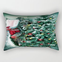 Christmas Tree And Santa Chair Rectangular Pillow