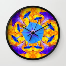 Baby Blue & Purple Morning Glories Art Wall Clock