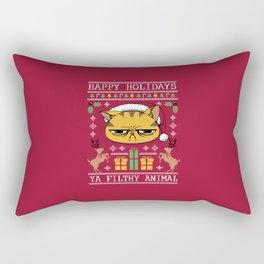 Ugly Holiday Sweater Cat Rectangular Pillow