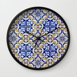 Close-up of blue, white and yellow ceramic wall tiles in Tavira, Portugal Wall Clock