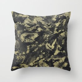 Black Ink on Gold Background Throw Pillow
