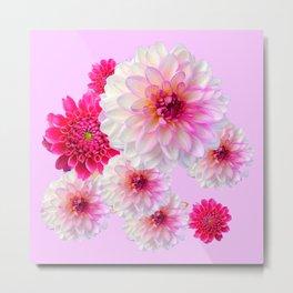FUCHSIA CERISE-WHITE DAHLIA FLOWERS GARDEN ART Metal Print