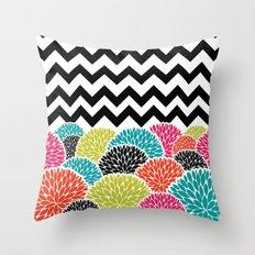 Tropical Flowers Chevron Throw Pillow